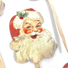 Load image into Gallery viewer, Santa Cupcake Toppers. Christmas Party Decor. Vintage Inspired Santa Christmas Cupcake Toppers.