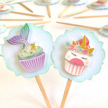 Load image into Gallery viewer, Unicorn and Mermaid Glitter Cupcake Toppers. Unicorn Birthday Party. Mermaid Party Cupcake Decor.