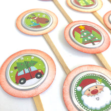 Load image into Gallery viewer, Round Christmas Cupcake Toppers, Christmastime Table Decor