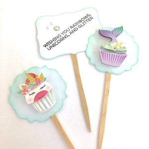 Unicorn and Mermaid Glitter Cupcake Toppers. Unicorn Birthday Party. Mermaid Party Cupcake Decor.