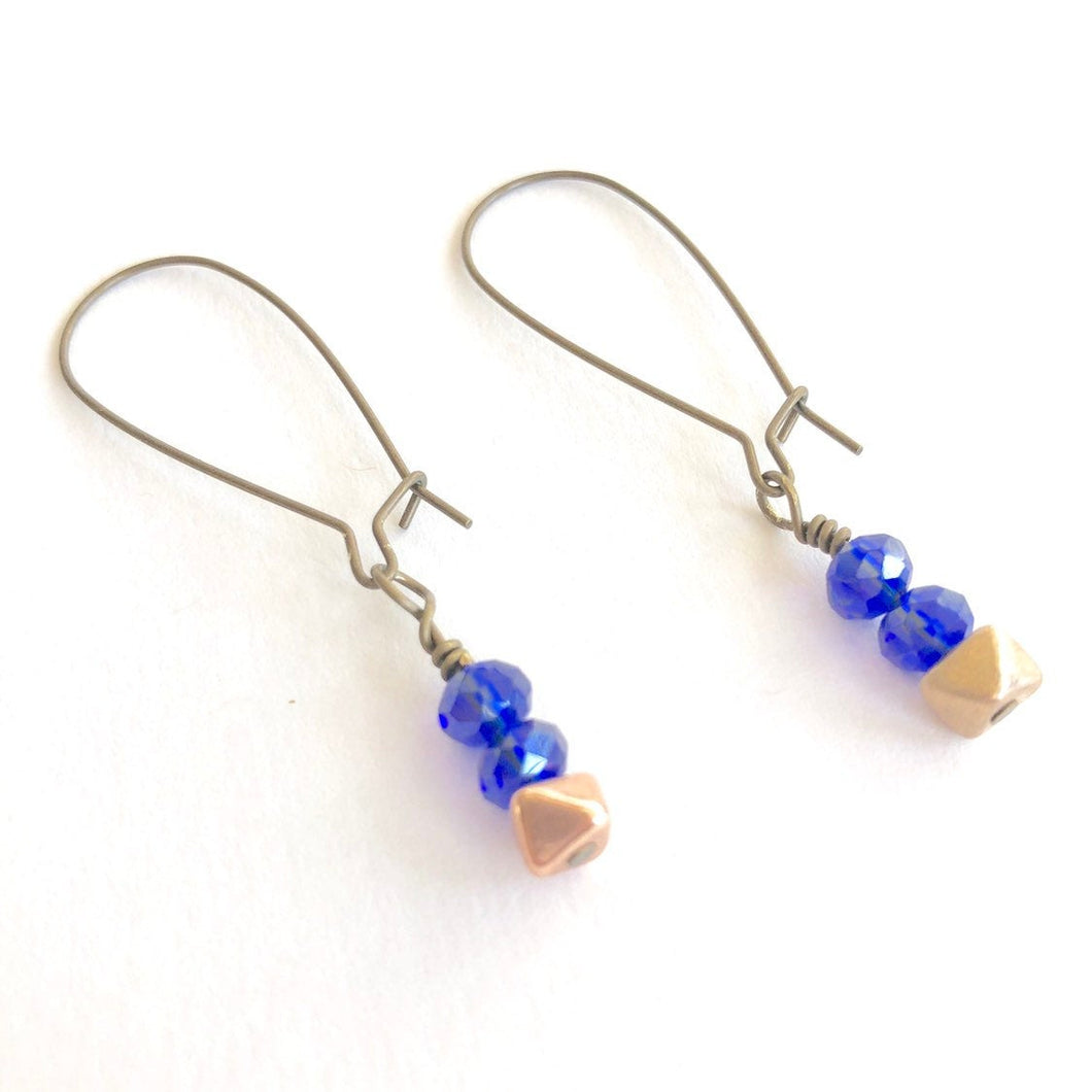 Blue & Gold Nugget Dangle Earrings. Minimalist Dangle Earrings.