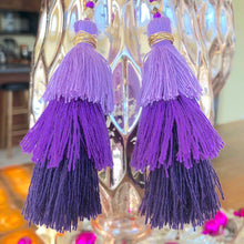 Load image into Gallery viewer, Purple 3-tier Layered Tassel Boho Earrings