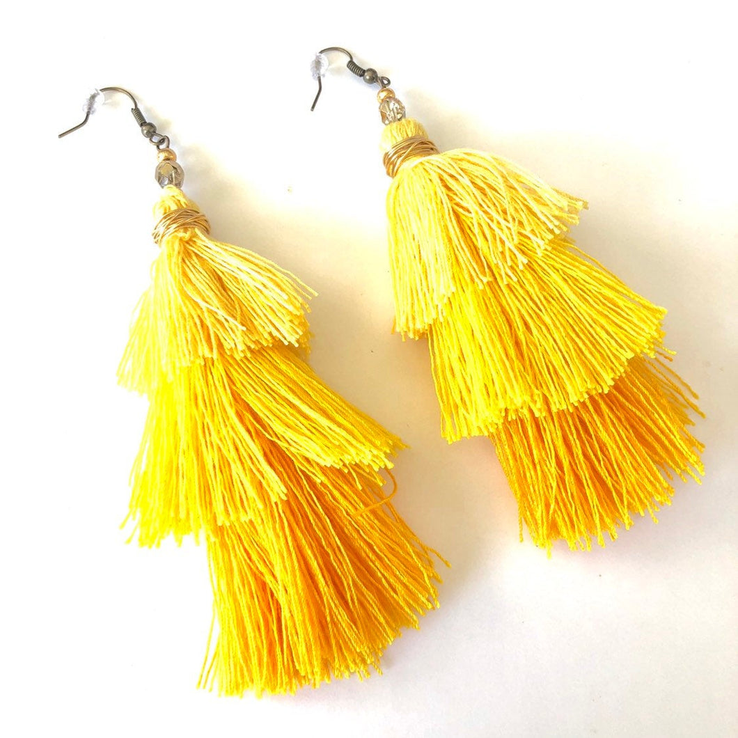 Yellow 3-tier Layered Tassel Boho Earrings