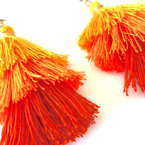 Orange Tassel Earrings, Boho Earrings, Cinco de Mayo, Orange Tassels, Burnt Orange Tassels, Trendy Jewelry