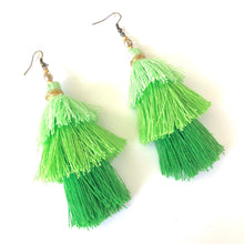 Load image into Gallery viewer, Green Tassel Earrings, Boho Earrings, Green Layered Tassels, St. Patty's Day Earrings, Cinco de Mayo