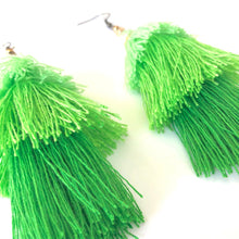 Load image into Gallery viewer, Green 3-tier Layered Tassel Boho Earrings. St. Patty's Day Dangle Earrings.
