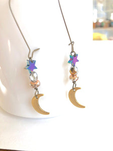 Moon + Stars Spiritual Love & Creativity Dangle Earrings