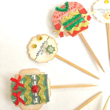 Load image into Gallery viewer, Ugly Christmas Sweater Party Decor. Ugly Sweater Cupcake Toppers. Very Merry Cupcake Toppers.
