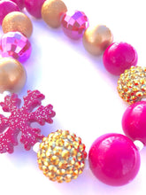 Load image into Gallery viewer, Hot Pink and Glittery Gold Snowflake Little Girls Bubblegum Bead Necklace