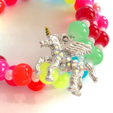 Load image into Gallery viewer, Neon Rainbow Unicorn Charm Bracelet for Little Girls