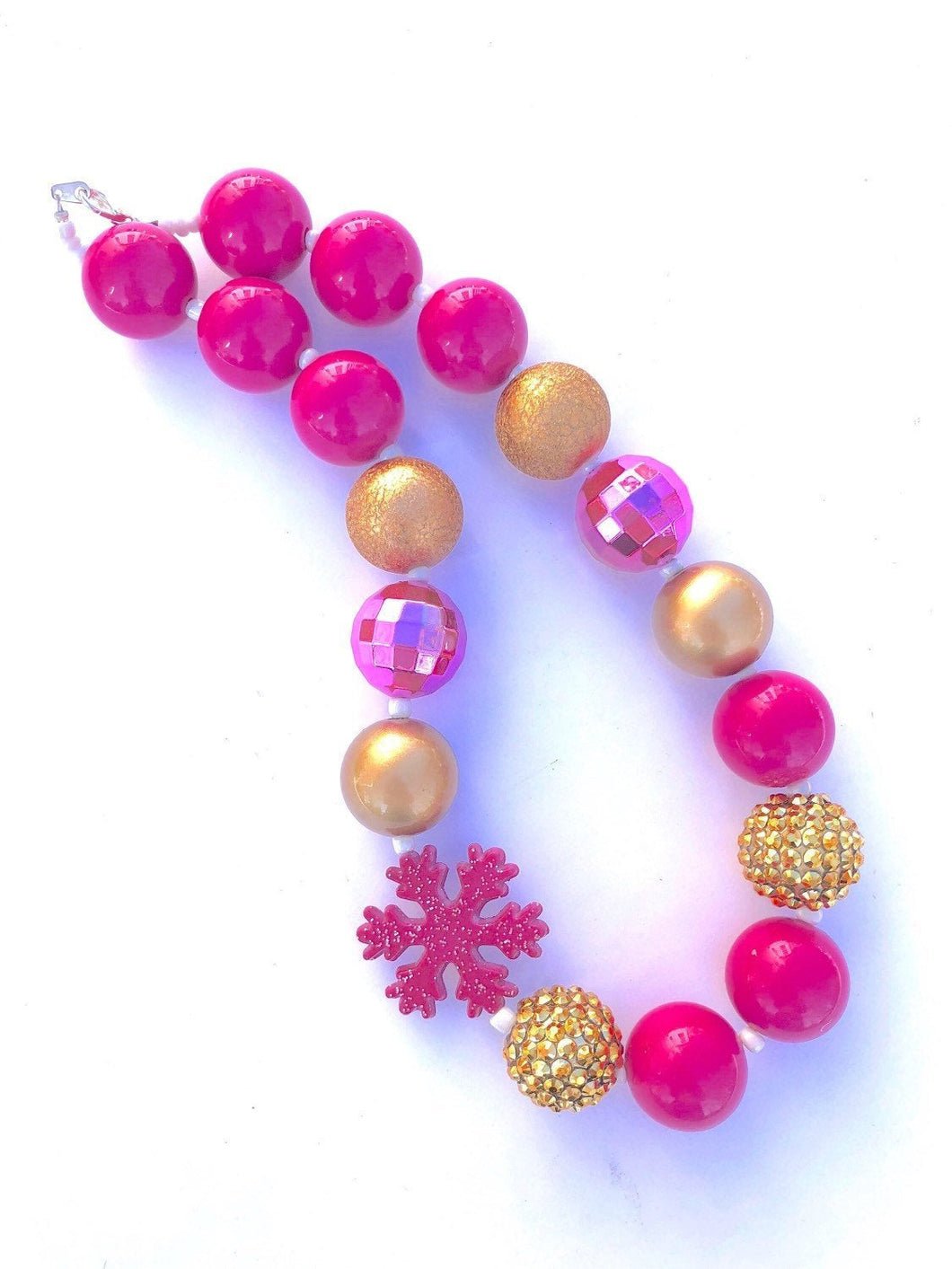 Hot Pink and Glittery Gold Snowflake Little Girls Bubblegum Bead Necklace