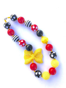 Black Red + Yellow Glittery Bow Little Girls Bubblegum Necklace