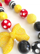 Load image into Gallery viewer, Yellow Glitter Bow with Black + Red Polka Dots Little Girls Necklace