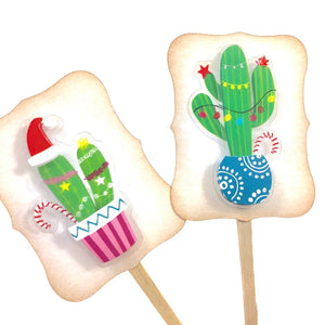 Cactus Party Decor. Festive Christmas Cactus Cupcake Toppers. Christmas Food Picks.