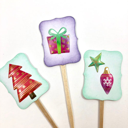 Christmas Cupcake Toppers. Trees Presents Ornaments and Stars. Christmas Party Food Picks.