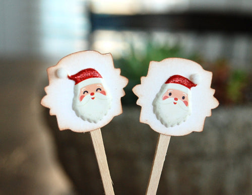 Santa Christmas Cupcake Toppers. Christmas Party Decor. Mini Cupcake Picks.