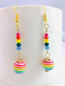 Colors of the Rainbow - Striped Dangle Earrings - Symbol of Hope, Luck, Fortune, and Wishes Coming True
