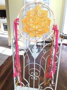 Yellow Gold Dyed Doily Bohemian Dreamcatcher Wall Hanging