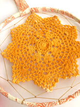 Load image into Gallery viewer, Yellow Gold Dyed Doily Bohemian Dreamcatcher Wall Hanging