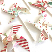 Load image into Gallery viewer, Holiday Pinwheels. Christmas Cupcake Toppers. Stars and Stripes Winter Pinwheel Cupcake Toppers.