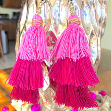 Load image into Gallery viewer, Pink 3-tier Layered Tassel Boho Earrings