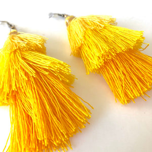Yellow Tassel Earrings, Boho Earrings, Cinco de Mayo, Yellow Tassels, Summer Vibes, Gifts for Mom, Trendy Jewelry, Summer Fashion