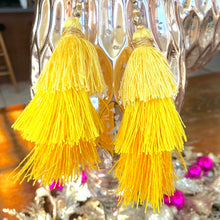 Load image into Gallery viewer, Yellow 3-tier Layered Tassel Boho Earrings