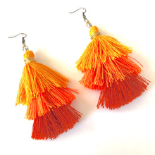 Load image into Gallery viewer, Tassel Earrings. Orange 3-tier Layered Tassel Boho Earrings. Burnt Orange Tassels.