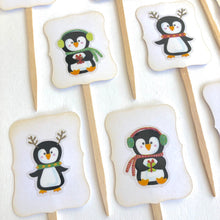 Load image into Gallery viewer, Penguin Party Cupcake Toppers. Christmas Penguins Cupcake Toppers. Christmas Party Decor. Penguin Party Decor.