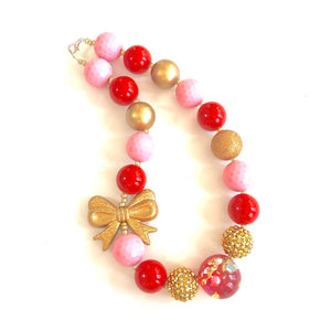 Hidden Treasure with Red, Pink + Gold Bow Valentine's Girls Bubblegum Necklace