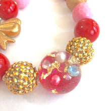 Load image into Gallery viewer, Hidden Treasure with Red, Pink + Gold Bow Valentine's Girls Bubblegum Necklace
