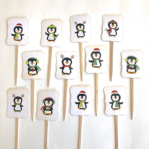 Penguin Party Cupcake Toppers. Christmas Penguins Cupcake Toppers. Christmas Party Decor. Penguin Party Decor.