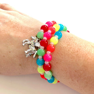 Neon Rainbow Unicorn Charm Bracelet for Little Girls
