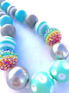 A Little Rainbow on a Grey Day Little Girls Colorful Bubblegum Bead Necklace