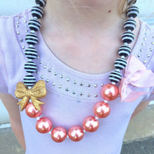 Load image into Gallery viewer, Black + White Stripes with Gold Bow and Coral Pearly Bubblegum Beads Girls Necklace