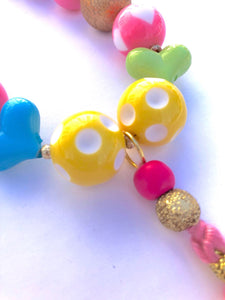 Sweetheart Tassel Little Girls Colorful Bubblegum Necklace
