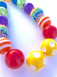 Colors of the Blingin' Rainbow Girls Bubblegum Necklace