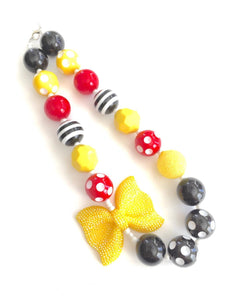 Yellow Glitter Bow with Black + Red Polka Dots Little Girls Necklace