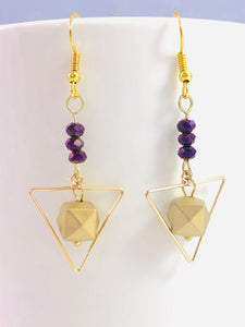 Gold Triangles with Floating Gold Prism Beads and Purple Minis - Dangle Geometric Earrings