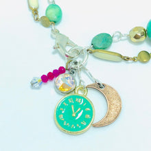 Load image into Gallery viewer, Moon Charm Bracelet. Moon + Clock + Swarovski Teal, Gold, Green & Hot Pink Bracelet.