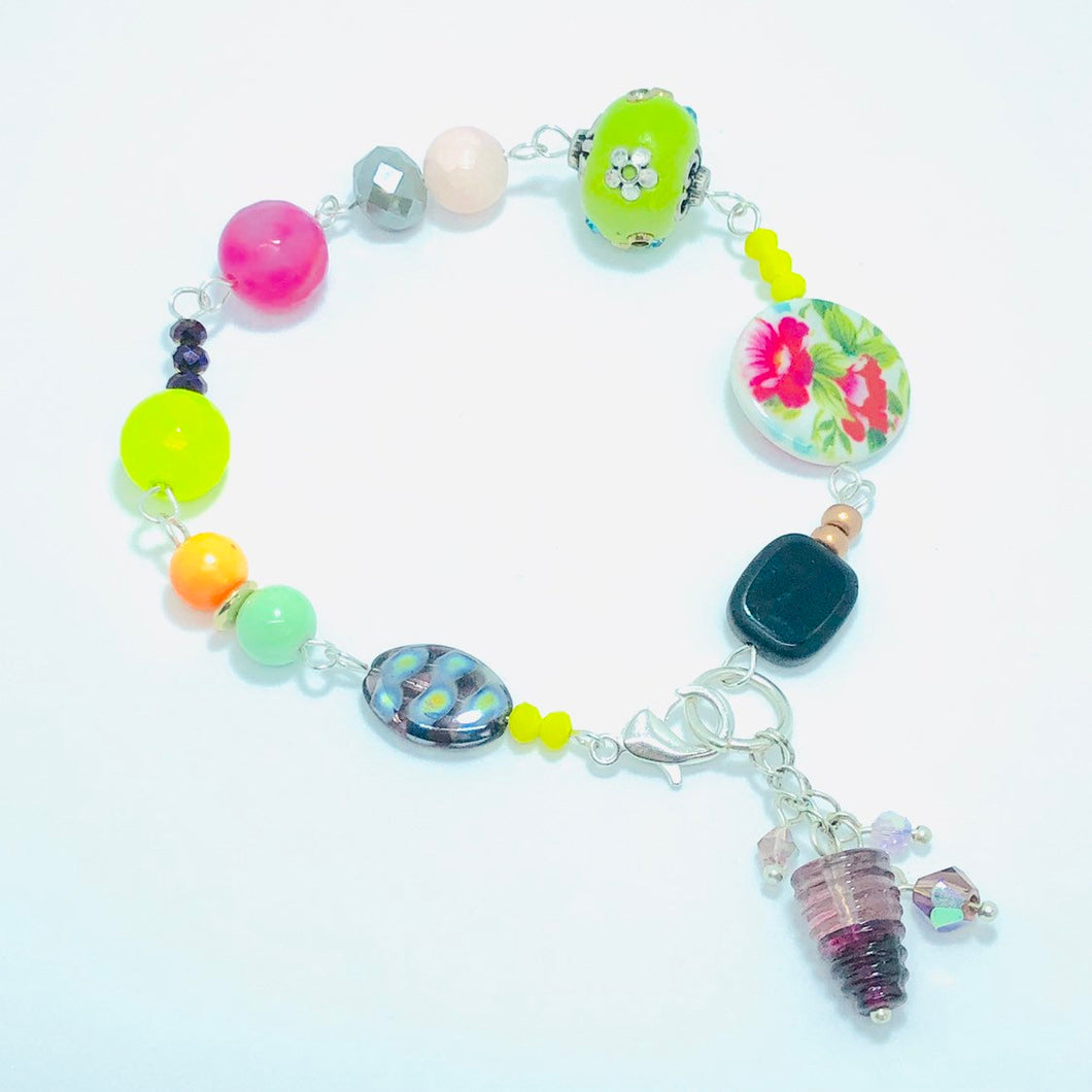Bright Floral Beaded Boho Swarovski Purple Glass Charm Bracelet