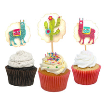 Load image into Gallery viewer, Llama Cupcake Toppers. Llama Birthday Party. Mama Llama Drama. Cactus + Flowers. 12 Food Picks. Llama Party Supplies.