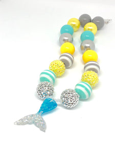 Blue + Silver Glitter Mermaid Tail Little Girls Bubblegum Necklace. Mermaid Gift.