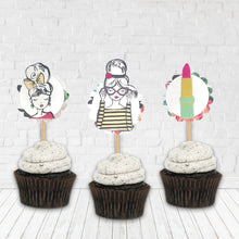 Load image into Gallery viewer, Slumber Party Decor. Fierce Fashion Girl Cupcake Toppers. Girly Party Cupcakes. Birthday Girl. You are so Loved.