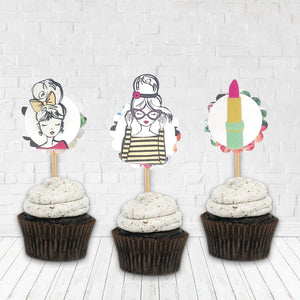Slumber Party Decor. Fierce Fashion Girl Cupcake Toppers. Girly Party Cupcakes. Birthday Girl. You are so Loved.