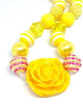 Load image into Gallery viewer, Big Yellow Rose Pendant Little Girls Bubblegum Necklace. Rose Birthday Gift.