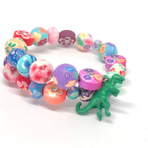 Green Tyrannosaurus Rex Dinosaur Little Girls Wrap Bracelet with Clay Floral Beads.