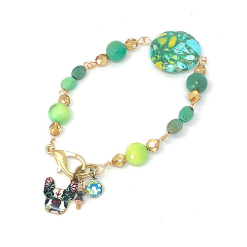 Beaded Charm Bracelet. Boston Terrier Charm. Teal and Green. Boho Swarovski Crystal Bracelet.