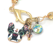 Load image into Gallery viewer, Boston Terrier Teal and Green Beaded Charm Bracelet. Boho Swarovski Crystal Bracelet.
