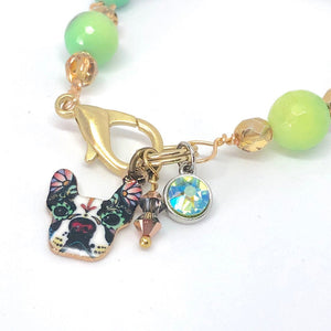 Dog Bracelet, Boston Terrier, Teal and Green Charm Bracelet, Boho Swarovski Crystal Bracelet
